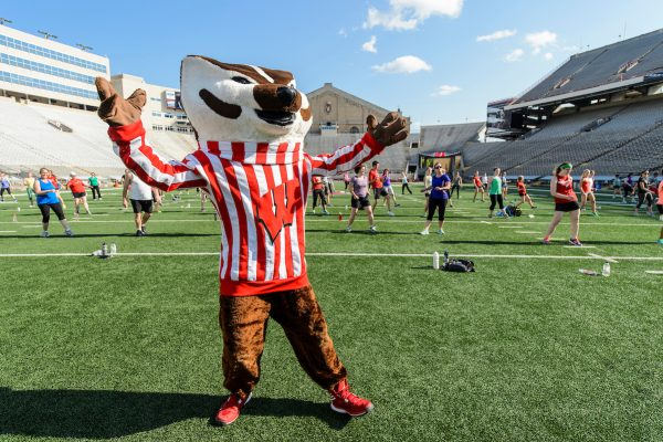 Bucky working out at Camp Randall