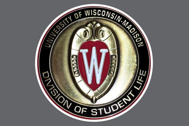 Coin with the UW crest and the words University of Wisconsin-Madison Division of Student life surrounding it.