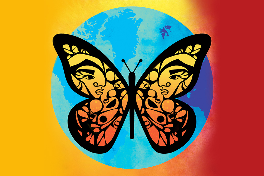 A butterfly over the planet earth, representing Dreamers and DACA recipients.